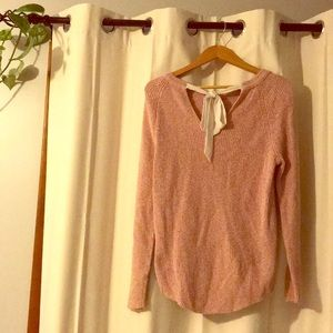 Loft Marled Tie Back Sweater with bow